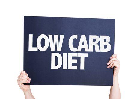 Mains tenant la carte avec le texte Low carb régime alimentaire sur fond blanc