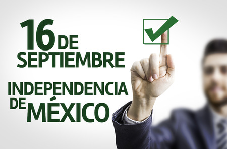 16: Businessman with the spanish text September 16 Independence of Mexico