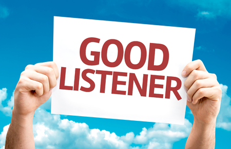 listener: Hands holding card with text Good listener on sky background