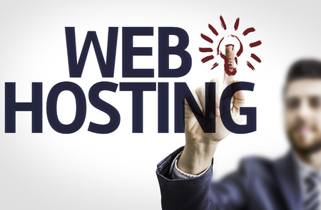 Businessman with the text Web Hosting