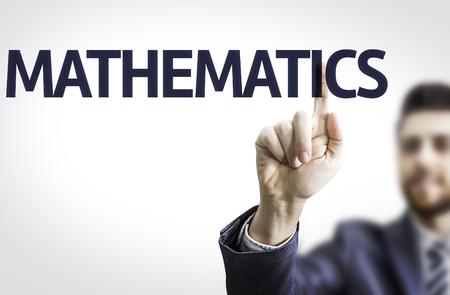 teorema: hombre de negocios que señala el texto de Matemáticas Foto de archivo