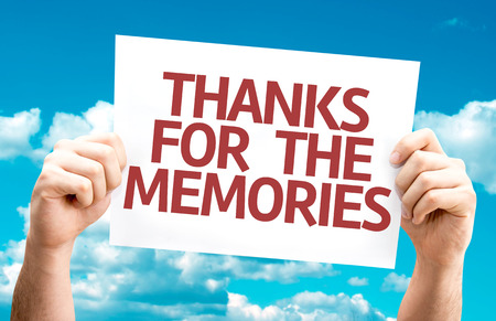 thankfulness: Hands holding cardboard with text Thanks for the Memories on sky background