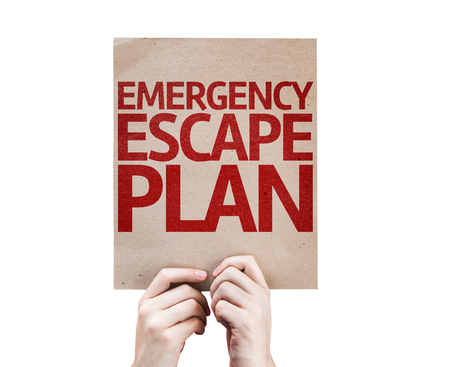emergency plan: Hands holding cardboard with Emergency Escape Plan on white background Stock Photo