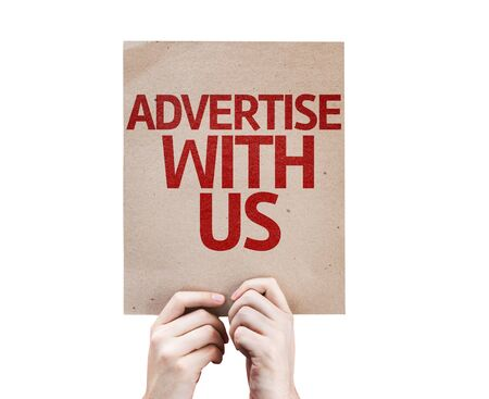 advertise with us: Hands holding cardboard with Advertise with Us on white background