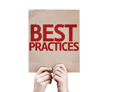 best practices: Hands holding cardboard with Best Practices on white background