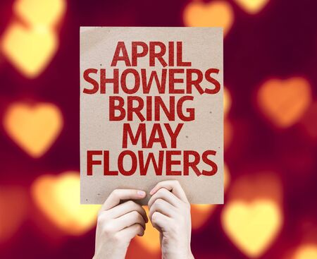 showers: Hands holding cardboard with April Showers Bring May Flowers on bokeh hearts background