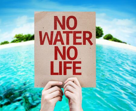 no water: Hands holding cardboard with No Water No Life on island background