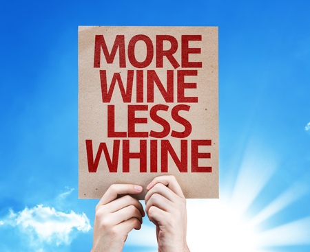 whine: Hand holding cardboard with More Wine Less Whine on sunny background