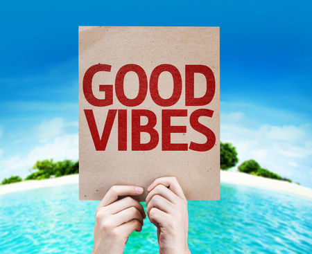 vibes: Cardboard with Good Vibes on island background