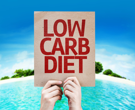 low carb diet: Cardboard Low Carb Diet text on island background