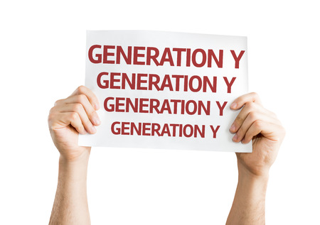 affiliation: Hands holding Generation Y card isolated on white background