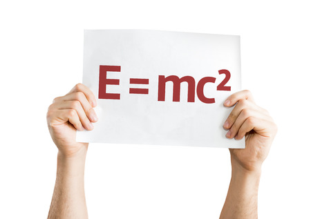 equivalence: Hands holding E = mc2 card isolated on white background
