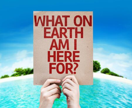 i am here: Hands holding What On Earth Am I Here For? card with island background