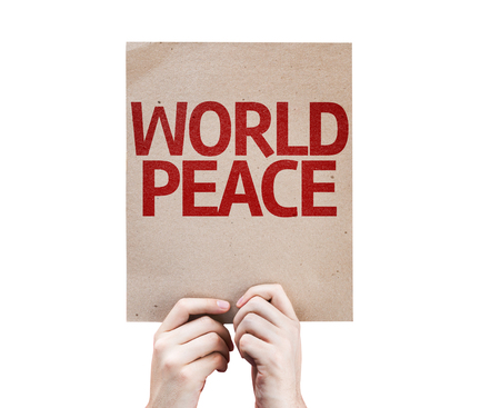 non violence: Hands holding World Peace card isolated on white background Stock Photo