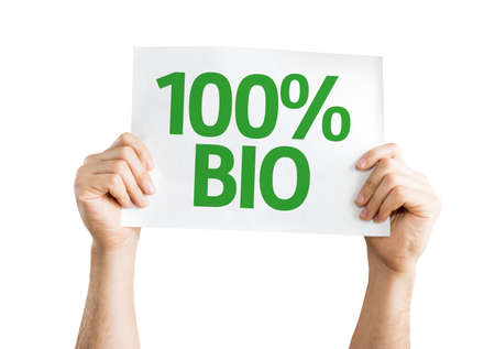 biologic: Hands holding 100% Bio card isolated on white background