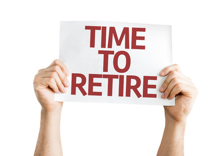 terminate: Hands holding Time to Retire card isolated on white background Stock Photo
