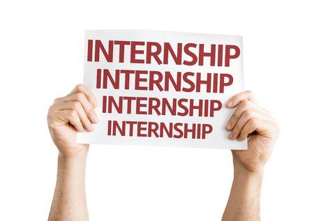 internship: Hands holding Internship card isolated on white background Stock Photo