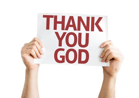 손을 잡고 감사합니다 하나님 카드 흰색 배경에 고립 된