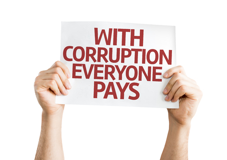 everyone: Hands holding With Corruption Everyone Pays card isolated on white background