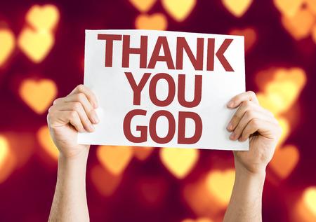 Hands holding Thank You God card with heart bokeh background Reklamní fotografie