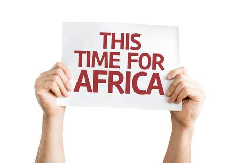 this: Hands holding This Time for Africa card isolated on white background