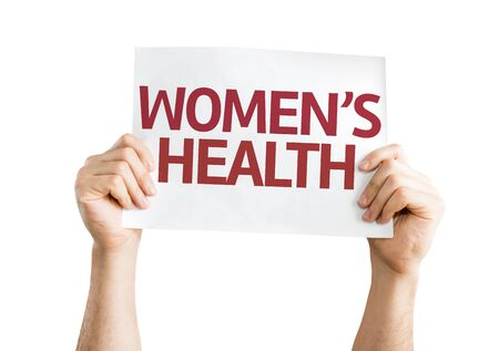 Women's health: Hands holding Womens Health card isolated on white background