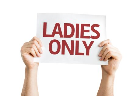cardboard only: Hands holding Ladies Only card isolated on white background Stock Photo