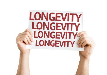 longevity: Hands holding Longevity card isolated on white background Stock Photo