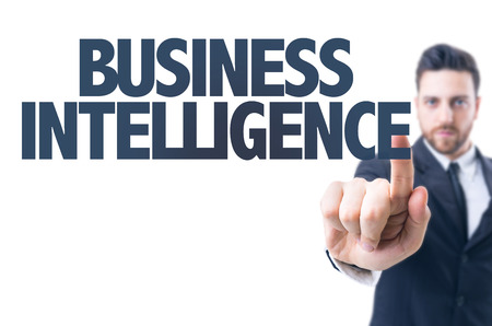 business words: Business man pointing the text: Business Intelligence