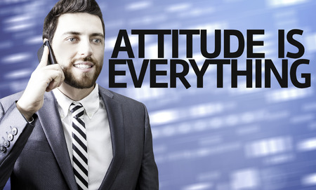 morals: Business man with the text Attitude is Everything in a concept image Stock Photo
