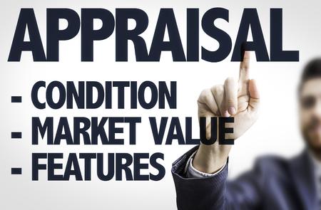 appraising: Business man pointing the text: Appraisal Description