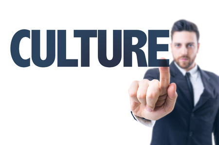 educative: Business man pointing the text: Culture Stock Photo