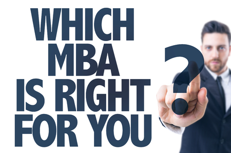 graduation suit: Business man pointing the text: Which MBA Is Right For You?