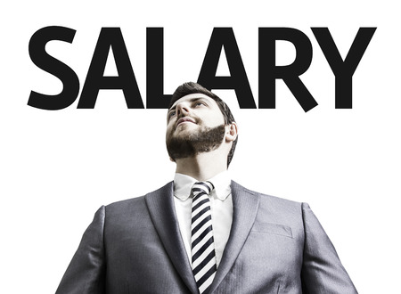 paycheck: Business man with the text Salary in a concept image