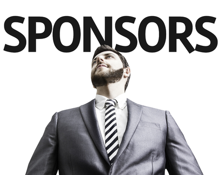 sponsors: Business man with the text Sponsors in a concept image