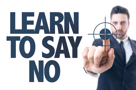 rightful: Business man pointing the text Learn to Say No Stock Photo