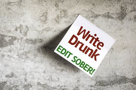 sober: Write Drunk Edit Sober written on paper note on texture background