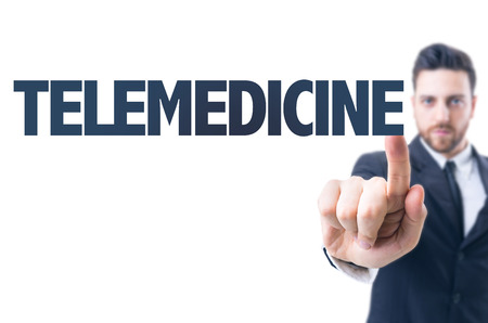 users video: Business man pointing the text Telemedicine