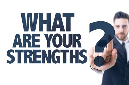 Bedrijfs mens die de tekst Wat zijn uw sterke punten?