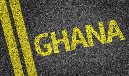 Ghana written on the road Stock Photo