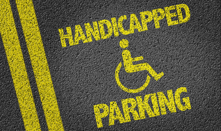 Handicapped Parking written on the road Stock Photo