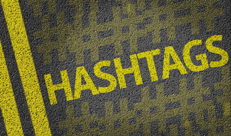 Hashtags written on the road