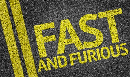 quickness: Fast and Furious written on the road Stock Photo