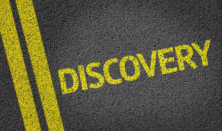 Discovery written on the road Stock Photo