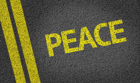 traquility: Peace written on the road Stock Photo