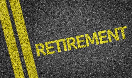 terminate: Retirement written on road Stock Photo