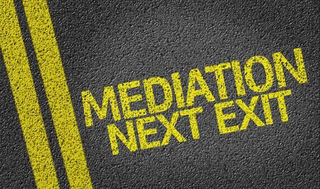 mediation: Mediation, Next Exit written on the road Stock Photo
