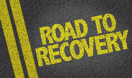 Road to Recovery geschreven op de weg