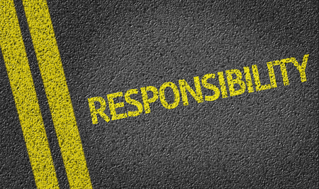 honorable: Responsibility written on the road Stock Photo