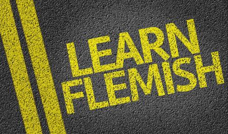 flemish: Learn Flemish written on asphalt road Stock Photo